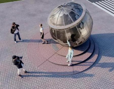 В столице Кубани начали установку скульптурной композиции на месте прохождения 45-й параллели